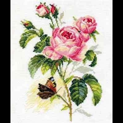Набор для вышивания роза и бабочка алиса